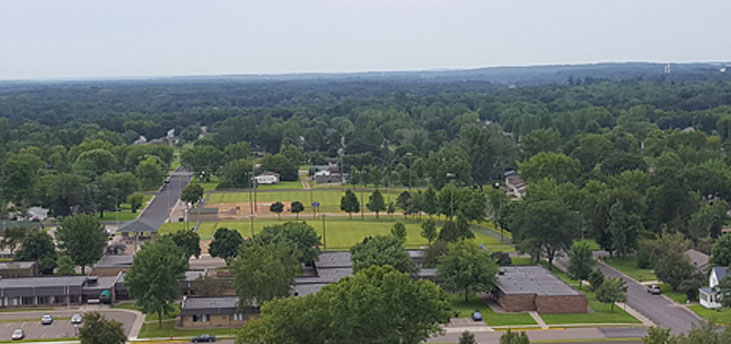 Wonderful view from the top of the West Side Water Tower looking south